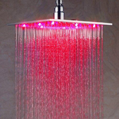 Lightinthebox 10 Inch Chromed Brass Square Led Rain Shower Head (0913 -8105)