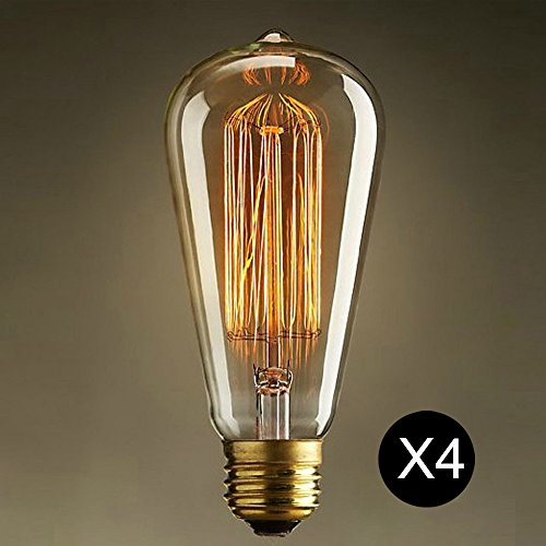 Retro Edison bulbs , HappyCell Edison Bulb Pack of 4pcs/set Clear Glass Light Bulbs with Antique / Vintage Thomas Edison Style Filament - For Pendant Lighting, Lamps & String Lights (ST64) (40 Watt Bathroom Lightbulbs compare prices)