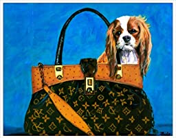 One 11x14 Inch Cavalier King Charles Spaniel in a Haute Couture Handbag Fine Art Print From an Original Painting By Philo