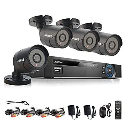Annke 8-Channel 1080P Lite Video Security System DVR and (4) Weatherproof Indoor/Outdoor Cameras with IR Night Vision LEDs, NO HDD