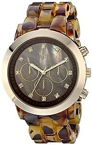 "Breda Women's 2307-Tort/Gold ""Brooke"" Rhinestone-Accented Gold-Tone Watch with Tortoise-Pattern Plastic Band"