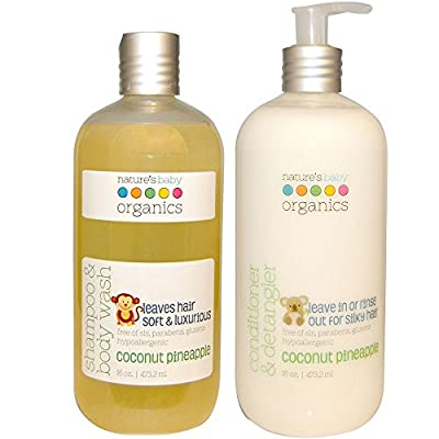 Nature's Baby All Natural Organic Coconut Pineapple Baby Shampoo & Body Wash and Conditioner & Detangler Bundle With Aloe Vera, Cucumber, Chamomile, Vitamin E and Shea Butter, 16 fl. oz. each