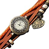 Yodee Women's Vintage Round Dial Beaded Band Quartz Analog Wrist Watch (Assorted Colors) 30% Off Rating