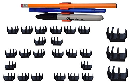 (25 pk)Black Self Adhesive Pencil Holder and Pen Clip - Holds 100's of writing utensils, 3 at a time! Great for pencil, pen, Sharpie & more! Great for desk, locker, fridge, craft, under cabinet, etc. (Under Desk Fridge compare prices)