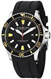 Stuhrling Original Mens 706.04 Aquadiver Regatta Diver Sport II Quartz Date Yellow Accent Rubber Strap Watch