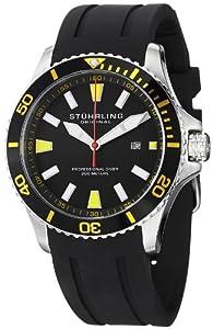 Stuhrling Original Men's 706.04 Aquadiver Regatta Quartz Date Yellow Accent Rubber Strap Watch