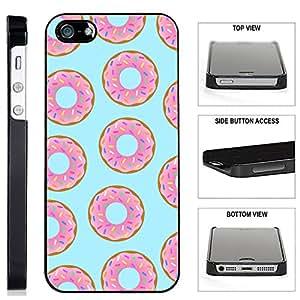 [TeleSkins] - Donuts iPhone SE / 5 / 5S Black Plastic Case - Ultra Durable Slim & HARD PLASTIC Protective Vibrant Snap On Designer Back Case / Cover for Girls. [Fits iPhone SE / 5 / 5S]