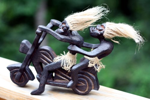 Primitives Tribal Statue Riding Harley Davidson Tiki Bar Unique Gift Home Decor