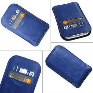 i-KitPit Quality PU Leather Pouch Case Cover For Karbonn A90 (BLUE)