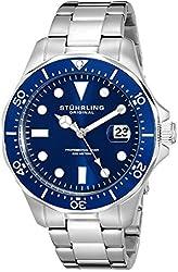 Stuhrling Original Aquadiver Mens Dive Watch - Quartz Analog Waterproof Sports Watch - Blue Dial Date Display Swim Wrist Watch for Men - Luminous Waterproof Watch with Stainless Steel Bracelet 824.02
