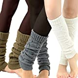 TeeHee Women's Cable Chain Fashion Leg Warmers 3-Pack Assorted Colors