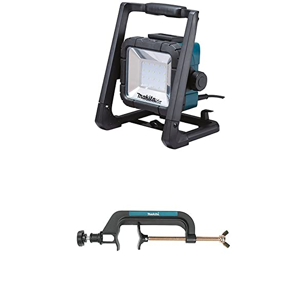 Makita DML805 18V LXT Lithium-Ion Cordless/Corded L.E.D. Flood Light with GM00001396 Pipe Clamp Light Stand