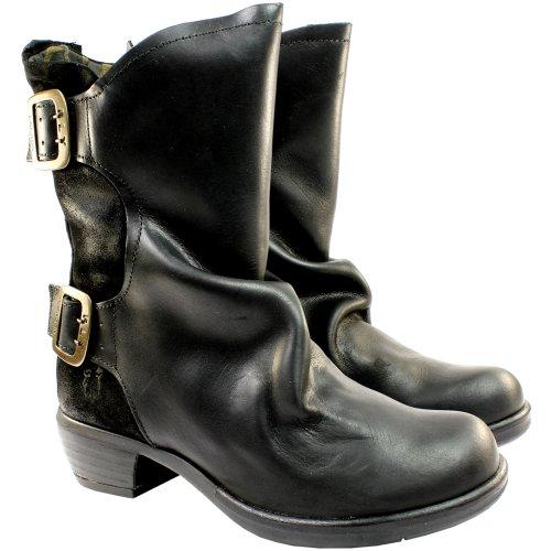 Womens Fly London Mango Twin Buckle Leather Biker Boots - Black - 7