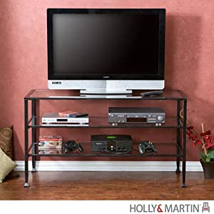 Holly & Martin 63-113-055-6-01 Guthrie TV Stand, Distressed Metal/Glass