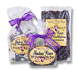 Shadow River Wild Huckleberry Candy Sampler (Licorice, Taffy, Jelly Beans)