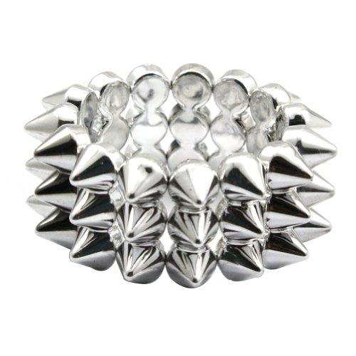 Zehui Silver Cool Rock Punk Studs Hedgehog Spike Rivets Elastic Stretch Bangle Bracelet