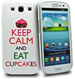 Accessory Master Coque pour Samsung Galaxy S III i9300 Motif Keep Calm and Eat Cup Cakes Blanc