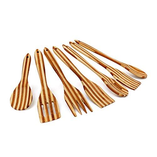 Relaxdays -Set da 7 pezzi utensili da cucina in legno di bambu' con le seguenti misure: B x L: 6,5 x 31cm, con manico forato per poter essere appesi