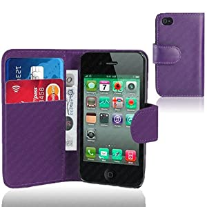 Executive Purple Faux Leather Wallet Case Cover with Card Holder for iPhone 5