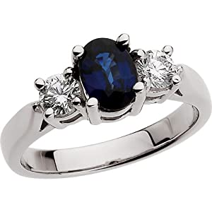 Platinum Genuine Sapphire and Diamond Ring in: 7X05 mm Size: 6