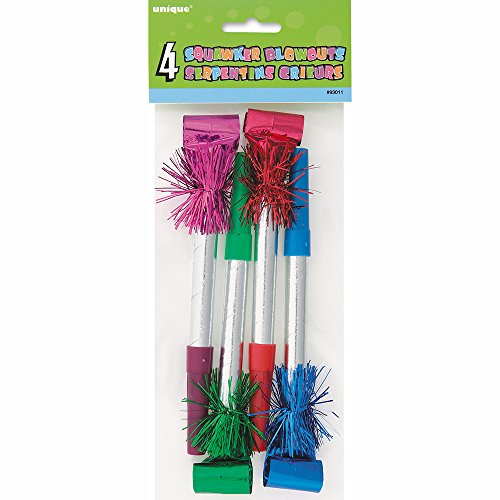Long Fringe Squawker Party Blowers, Assorted 4ct (Red Birthday Blowers compare prices)