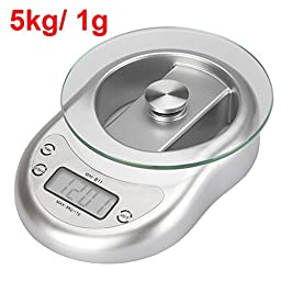 Constructan(TM) Silver 5kg/ 1g 5000g Digital Electronic Kitchen Scale Weighing Balance with Clock Countdown Alarm Function