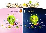 UberLyfe Caterpillar LED Night Light cum Wall Sticker for Kids Décor (Wall Covering Area: 26.7cm x 36.4cm)