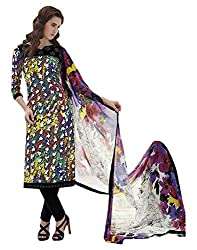 Tangerines Crepe Salwar Kameez Suit UnStitched Dress Material