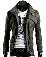 Mooncolour Men's Fall Slim Fit Thick Military Rider Jacket