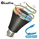 Bluetooth smart LED light bulb, okapia LED Smartphone Controlled Dimmable Multicolored Color Decorative Christmas Party Lighting for iPhone, iPad, Android Phone,and Tablet (Black)