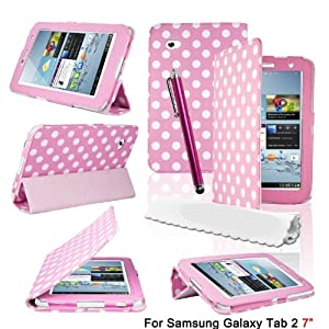 HOTSALEUK Samsung Galaxy Tab 2 7.0 (P3100 P3110) Leather Case Trifold Stand Folio Case Cover and Stylish Polka Dots, Bonus: Screen Protector + Stylus Pen (Polka dots HOT PINK)