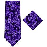 KissTies Mens Tie Set: Paisley Necktie + Pocket Square Hanky in Gift Box Wrap