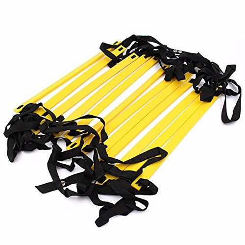 OUTERDO Agility Ladder for Soccer 12rung Super Flat Adjustable Speed Ladder for Football Basketball Boxing Hopping,Running Fitness Feet Training to Increase Speed,Coordination and Sense of Balance.