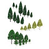 27pcs Arbres Miniatures Mixtes Décor pour Paysage Modélisme Ferroviaire 3-16 cm