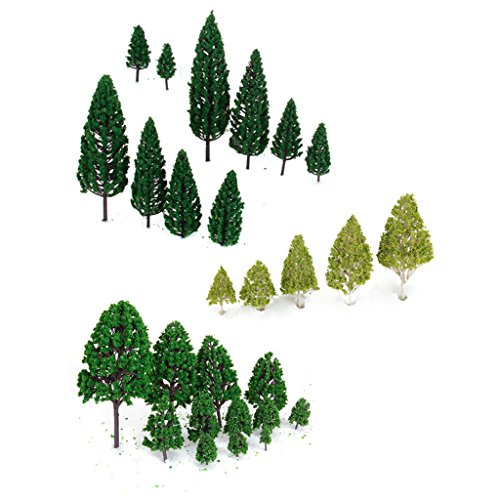 27pcs Mixed Model Trees Train Railways Architecture Landscape Scenery Layout 3-16 cm - 1
