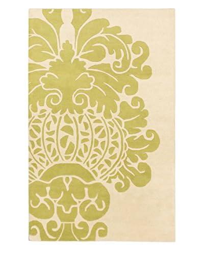 Handmade Soho Flower Wool Rug, Cream/Light Green, 5′ x 8′