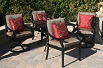 """Hot Sale The Moncler Collection 4-Person All Welded Cast Aluminum Patio Furniture Dining Set With 36"""" Square Table And 2 Swivel Chairs"""