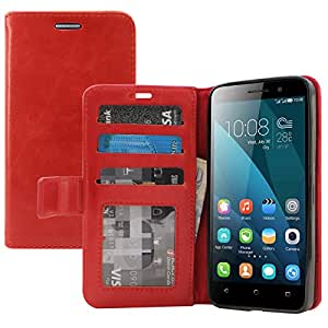 Huawei Honor 4X Cover, DMG Premium Leather Magnetic Wallet Case with Detachable Back Cover Case for Huawei Honor 4X (Red)