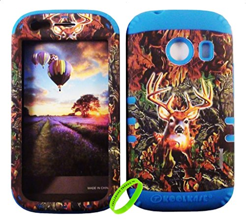 Cellphone Trendz HYBRID ROCKER HIGH IMPACT PROTECTIVE CASE COVER for Samsung Galaxy Ace Style S765c Straight Talk, Net10 and TracFone - Camo Real Hunter Series Mossy Deer Design Hard Case on Blue Silicone (Camo Cases For Samsung Galaxy Ace compare prices)