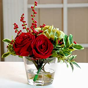 "Holiday Rose Hydrangea Glass Vase 14"" Red"