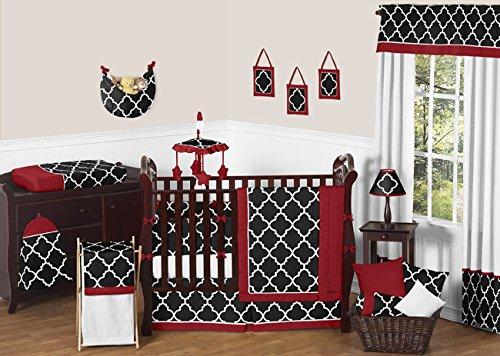 Red, Black And White Trellis Print Baby Bedding 9 Piece Crib Set By Sweet Jojo Designs