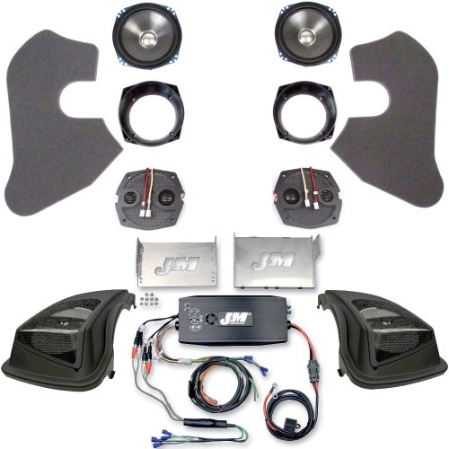 "Hill Country Customs J&M Front Speakers, 500 Watt 4 Channel Amp And Hogtunes 6""X9"" Saddlebag Lid Kit For 2006-2013 Harley-Davidson Street Glide - Hc-500Ht-Sg"
