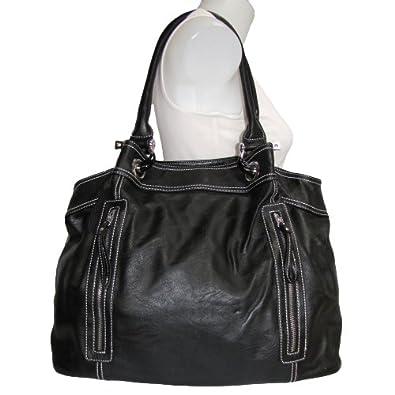 Large Zipper Tote Handbag (Black)