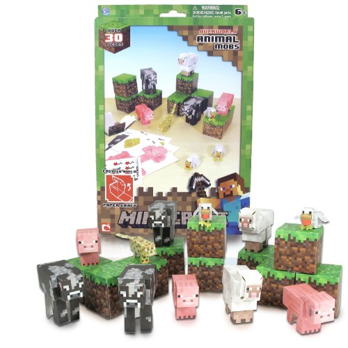 Minecraft Papercraft Animal Mobs Set (Over 30 Pieces) (Cool Minecraft Stuff compare prices)