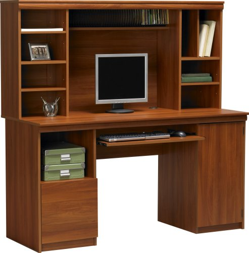 Work Center with Hutch in Expert Plum Finish By Ameriwood Furniture