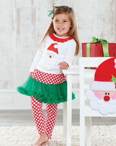 Mud Pie Santa Christmas Pettiskirt Outfit 5T front-541274