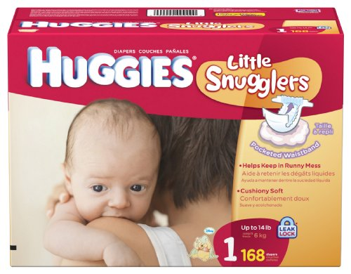 Huggies Little Snugglers Diapers, Size 1, 168-Count