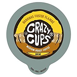 Crazy Cups Decaf Banana Foster Flambe Flavored Coffee Single Serve Cups for Keurig K Cups Brewer, 22 Count