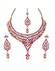 I Jewels Traditional Gold Plated Stone Necklace Set With Maang Tikka For Women(Rani/Dark Pink)(M4026Q)