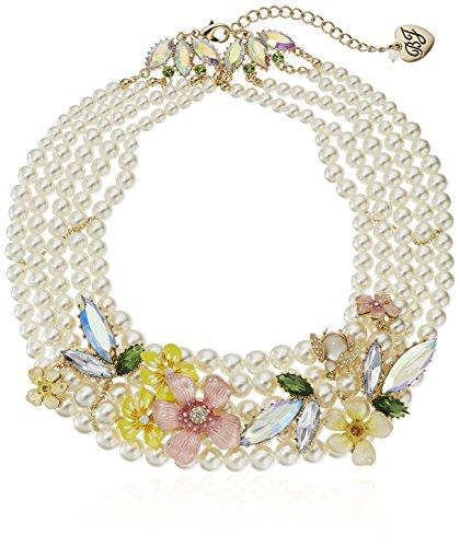 "Betsey Johnson ""Luminous Betsey"" Mixed Flower and Faceted Stone Faux Pearl Torsade Necklace, 17"" + 3"" Extender"